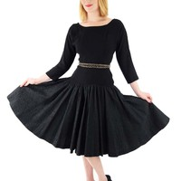 50s Black Embroidered Full Skirt Party Dress-S