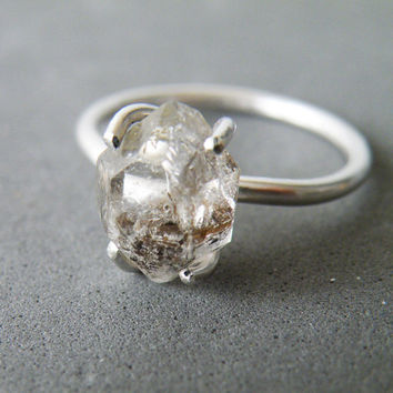Shop rough herkimer diamonds on wanelo herkimer diamond ring sterling silver stacking ring rough quartz junglespirit Images