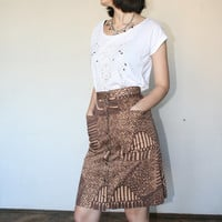 Brown pattern vintage skirt  African pattern skirt Geometrical pattern skirt 70s (XS/S)