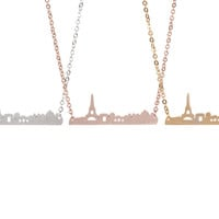 Chic Paris City Skyline Necklace with Eiffel Tower