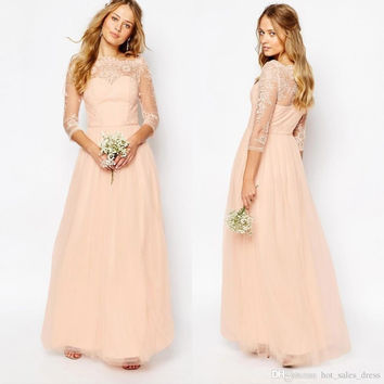 2017 Peach Pink Lace Chiffon Long Bridesmaid Dresses Long Sleeves Tulle Wedding Party Gowns Cheap Maid Of Honor Dress B78