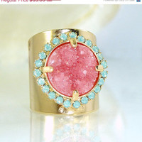 SALE Pink Stone Ring, Pink Druzy Ring, Gift for her, Cocktail Ring, Pink & Mint,  Wide Band Ring, Druzy Jewelry, Unique Design By Inbal mish
