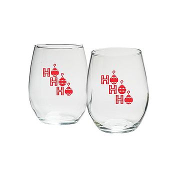 Ho, Ho, Ho 15 oz. Stemless Wine Glasses (Set of 4)
