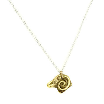 Ram's head Charm Necklace – Sterling silver chain- Unique Necklace-Lost Wax Cast