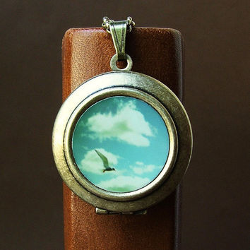 Photo locket Photo Art Locket Necklace seagull ocean by bomobob