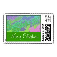 Christmas Colorful Green Blue Stamps