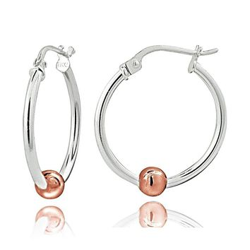 Sterling Silver with Rose Gold Tone Bead Round Hoop Earrings, 20mm