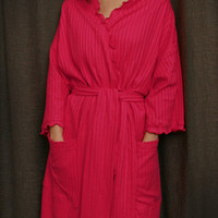 Hot Pink 3/4 length Wrap Robe Cotton Dot, Made In The USA, | Simple Pleasures, Inc.