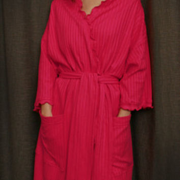 Hot Pink 3/4 length Wrap Robe Cotton Dot, Made In The USA,   Simple Pleasures, Inc.