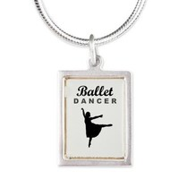 Ballet Dancer Silhouette Silver Portrait Necklace