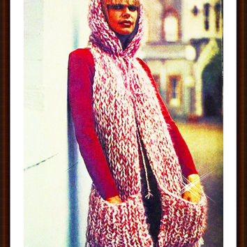 KNITTING PATTERN pocket scarf snood head wrap Pattern winter scarf cowl pattern PDF Instant Download epsteam pink crochet patterns vtg