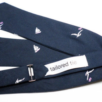 Japanese cotton 'Gitman Brothers Vintage' w/ embroidered 'Seagulls and Sailboats' motif white & lavender over navy ground. Adj. self tied.