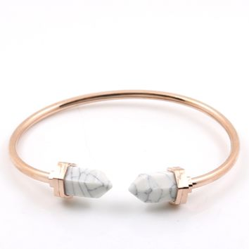 Marble Tip  Rose Gold Stainless Cuff Bangle