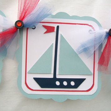 Sailboat baby shower banner, its a boy, in red, white and shades of blue - READY TO SHIP