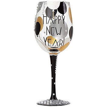 Lolita Blinging New Year Wine Glass - Mouth Blown, Hand Painted & Jeweled