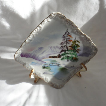 VINTAGE HAND PAINTED Plate/Signed Landscape Art on Porcelain Plate/Hand Painted Plate/Stand/Unknown Artist/Winter Scenic Landscape Painting