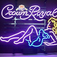 New Crown Royal Whiskey Girl Real Glass Neon Light Sign Home Beer Bar Pub Recreation Room Game Room Windows Garage Wall Sign H107