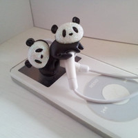 Adorable Black and White Panda Earbuds