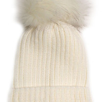 Large Fur Pom Pom Slouchie Knit Beanie Hat - Cream/Cream