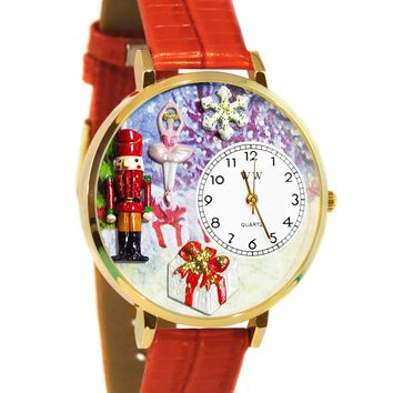 Christmas Nutcracker Red Leather And Goldtone Watch