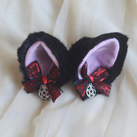 Kitten play clip on cat ears with ribbon bows and pendant - neko lolita cosplay costume ears - kitten play gear accessories - black and red