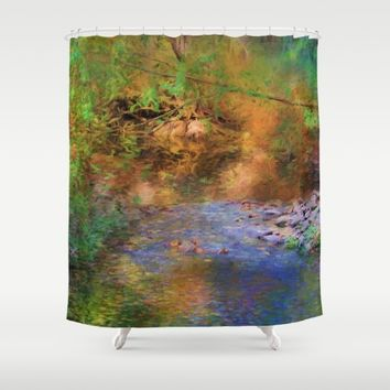 Fantasy Lake Stream Shower Curtain by Theresa Campbell D'August Art