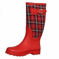 Dirty Laundry Women's 'Rocky Top' Red/ Red Plaid Rain Boots | Overstock.com