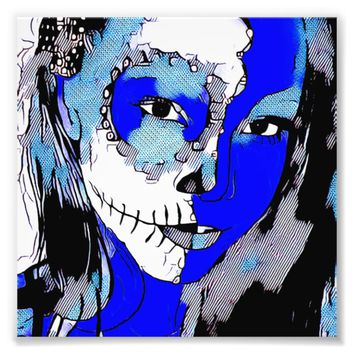 Blue Abstract Skull Day Of The Dead Girl Photo Print