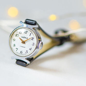 Semicircle trim women's watch vintage, micro watch Seagull, unique watch silver shade, crescent watch gift her, new premium leather strap