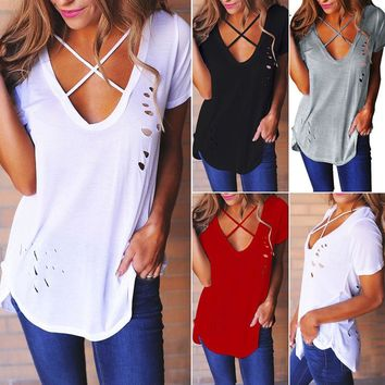 Kristine Tee - Women Summer Short Sleeve Shirt Vest Top Blouse Tank Tops T-Shirt