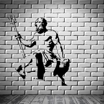 Neptune Statue God of Oceans Seas Wall Decor Mural Vinyl Decal Art Sticker Unique Gift M133