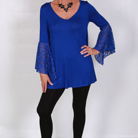 Royal Blue Tunic with Half Lace Kimono Sleeves