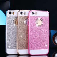 Glitter Powder Hard Plastic Cases For iPhone 4 4S 5 5S 6 6S