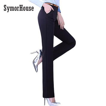 SymorHouse Great Quality Women suit pants Skinny OL Office Lady Autumn black pencil pants Full Length high Waist Trousers Female
