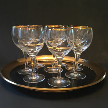 Gold Trim Crystal Wine Glasses, Set of 8 Vintage Crystal Stemware Gold Trim