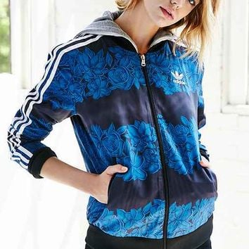 Adidas blue track jacket women's
