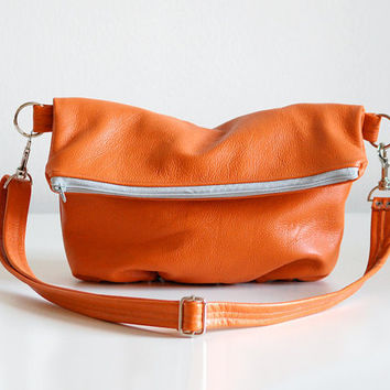 Foldover Clutch in Pumpkin Orange  Made to Order by jennyndesign