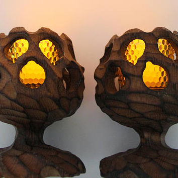 Vintage Witco Style Cryptomeria Wooden Goblet Shaped Candle Holders 1960s