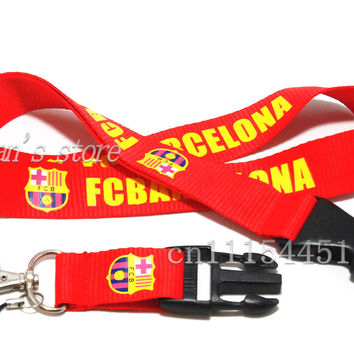 FREE SHIPPING Red Men FCBARCELONA Neck Lanyards Soccer for id cards Football Club neck strap keychain