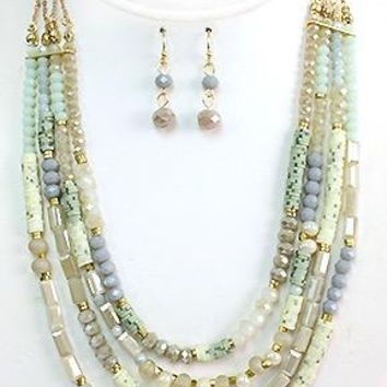 Multi-Bead 4-Strand Necklace & Earring Set - Gold Tone