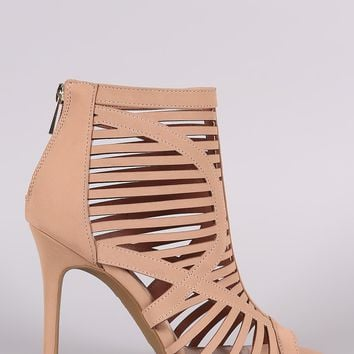 Anne Michelle Caged Cutout Peep Toe Stiletto Heel