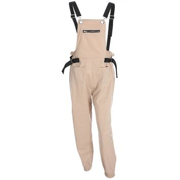 malianna Casual Khaki Overalls for Women Elegant Cargo Pants High Waist Trousers Loose Strap Bib Korean Pants Capris Pockets