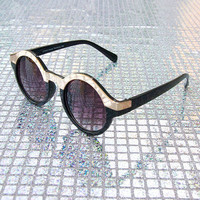 Round Frame Sunglasses in Black and Gold