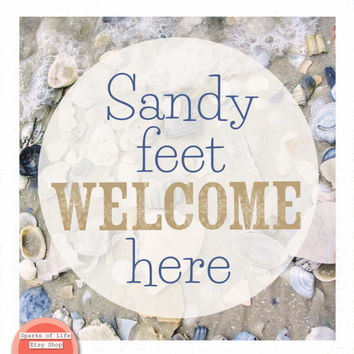 Beach printable quotes, beach house print, beach wall decor, square digital download sign, sandy feet sign, sandy feet welcome, sea shells