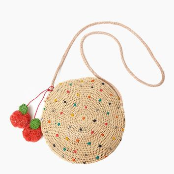 Alma Embroidered Raffia Crossbody W/ Cherry Poms And Leather Strap - Multi