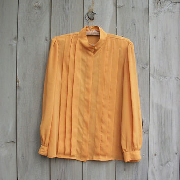 Vintage blouse - Mustard button down shirt with pleats