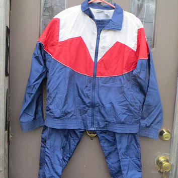 Windbreaker nylon Suit Two Piece womens Track Suit navy red white blue  colorblock  Windbreaker Jacket ,90s Grunge,  sz large