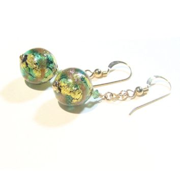 Murano Glass Green Copper Ball Gold Earrings, Venetian Jewelry