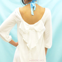 White Nights Bow Back Blouse Dress