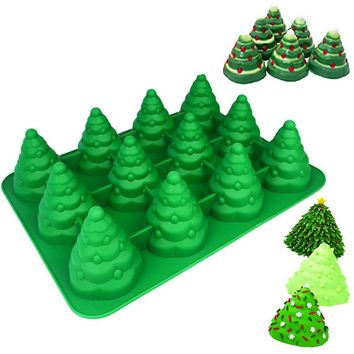 3D Christmas Tree Pancake Tray Mold Silicone Soap Mould Cake Mould Fondant Cake Baking Tools Cake Decorations 12 Cavity